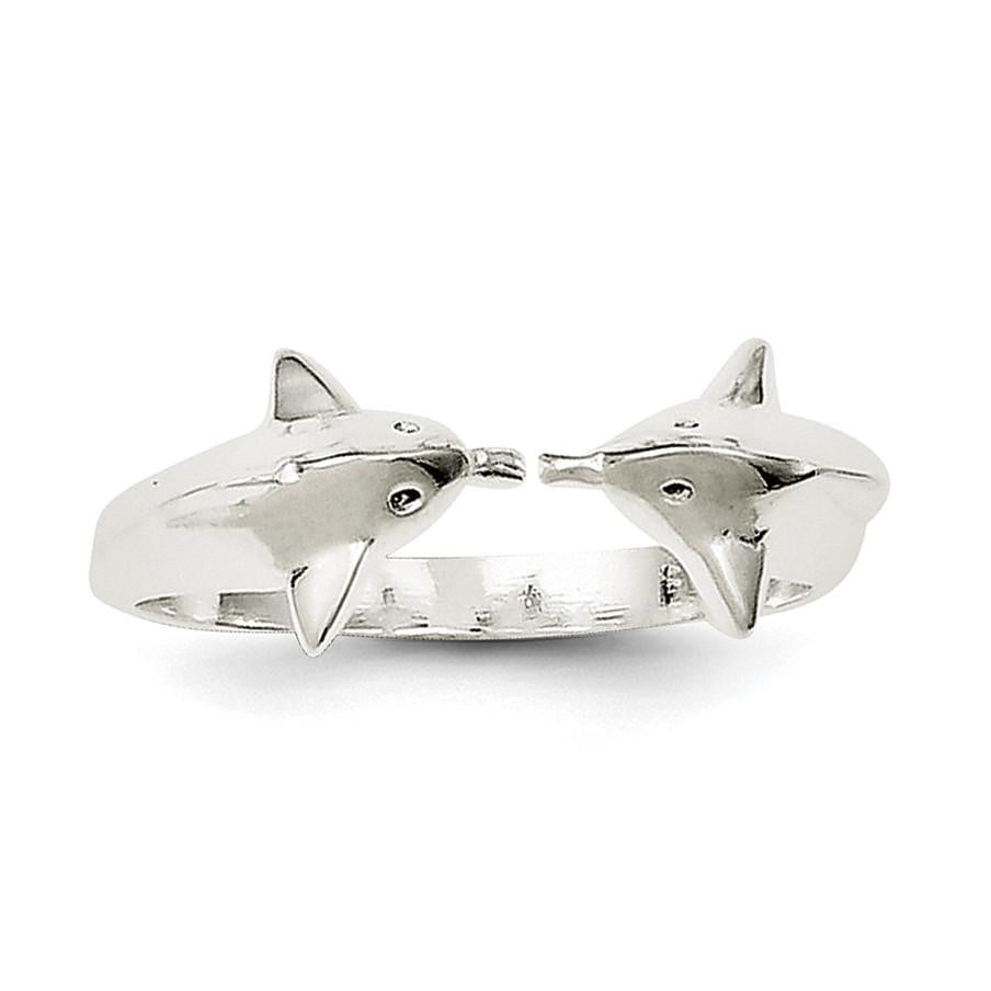Sterling Silver Polished Dolphin Toe Ring - shirin-diamonds