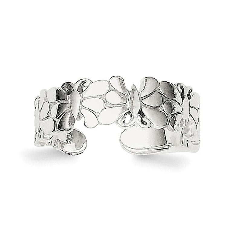 Sterling Silver Polished Butterflies Toe Ring - shirin-diamonds