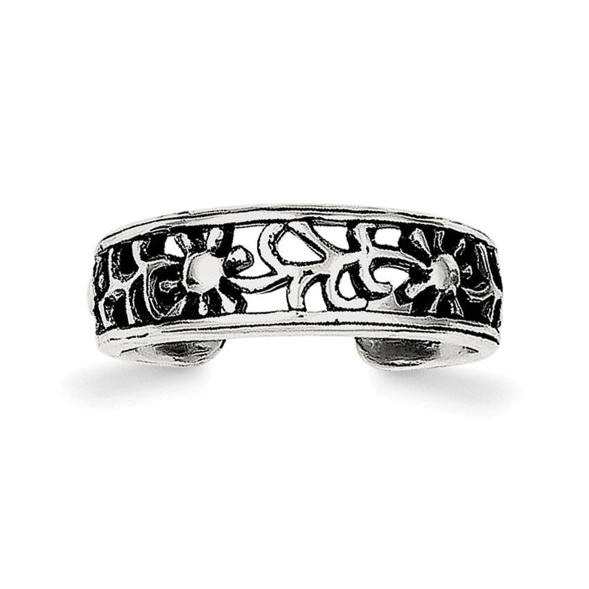 Sterling Silver Antiqued Floral Toe Ring - shirin-diamonds