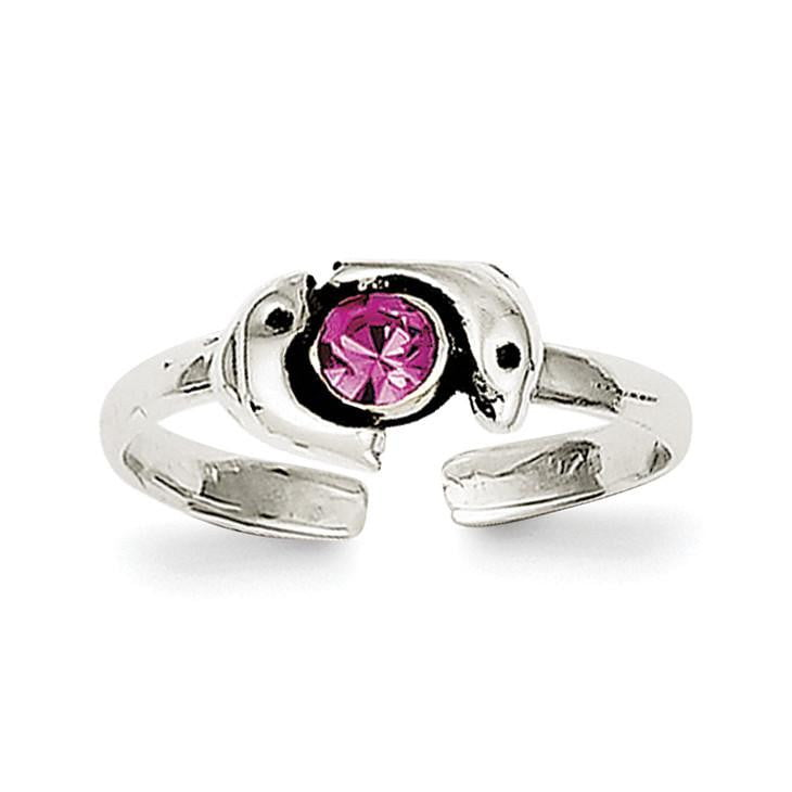 Sterling Silver Antiqued Pink CZ Dolphin Toe Ring - shirin-diamonds