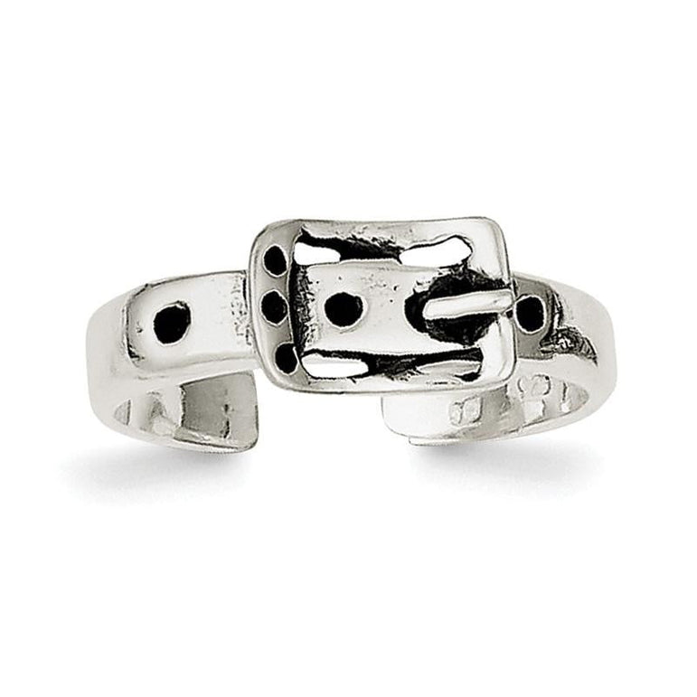 Sterling Silver Antiqued Buckle Toe Ring - shirin-diamonds