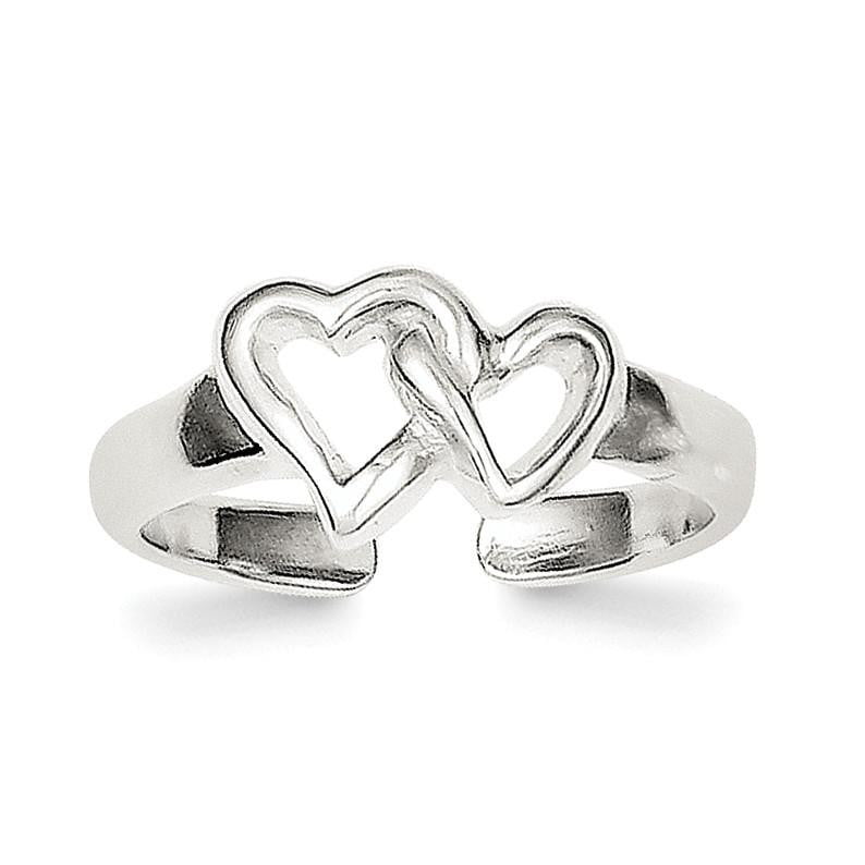 Sterling Silver Solid Heart Toe Ring - shirin-diamonds