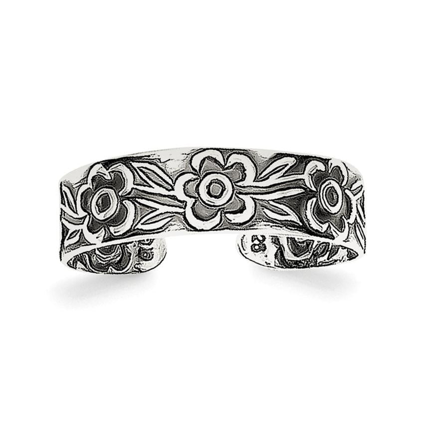 Sterling Silver Antiqued Flowers Toe Ring - shirin-diamonds