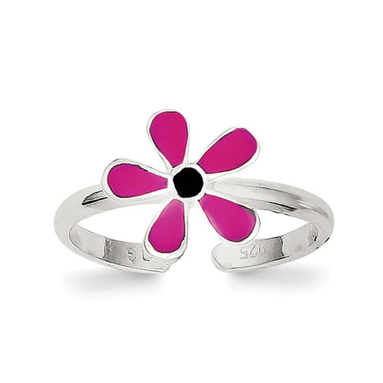 Sterling Silver Pink Enameled Floral Toe Ring - shirin-diamonds