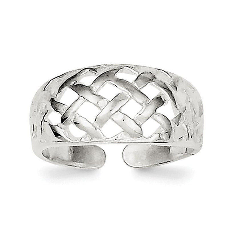 Sterling Silver Lattice Toe Ring - shirin-diamonds