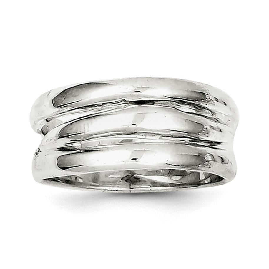Sterling Silver Solid Fancy Ribbed Ring - shirin-diamonds