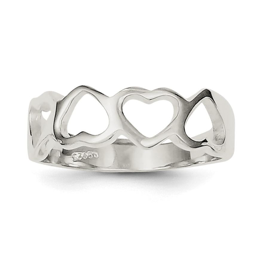 Sterling Silver Solid Heart Ring - shirin-diamonds