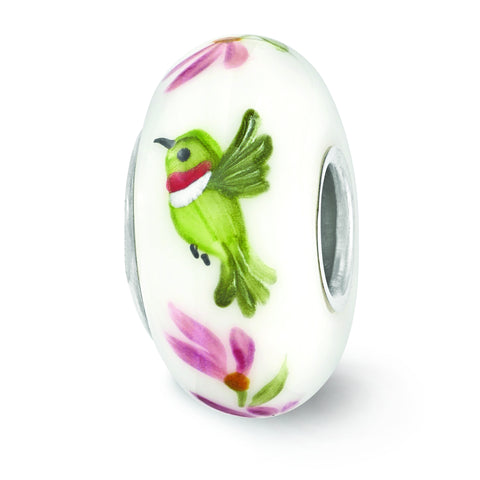 Sterling Silver Reflections White Hand Painted Hummingbird Glass Bead QRS3662 Size:  x  mm