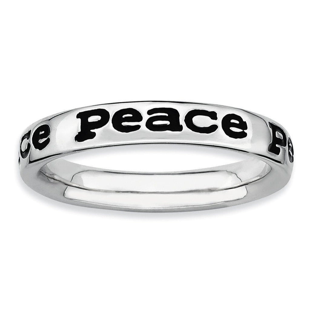 Sterling Silver Stackable Expressions Polished Enameled Peace Ring
