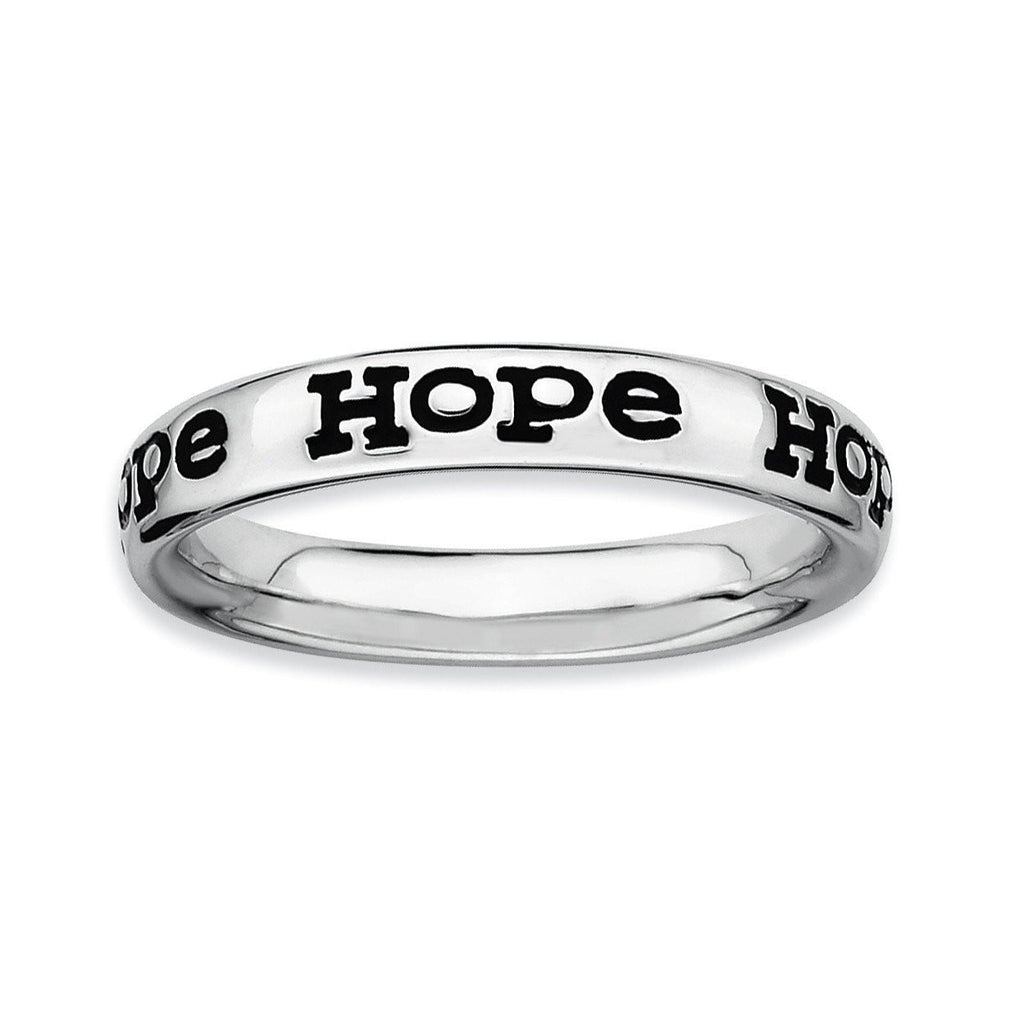 Sterling Silver Stackable Expressions Polished Enameled Hope Ring