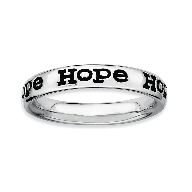 Sterling Silver Stackable Expressions Polished Enameled Hope Ring - shirin-diamonds