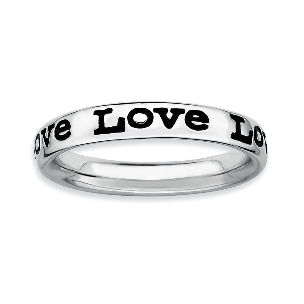 Sterling Silver Stackable Expressions Polished Enameled Love Ring - shirin-diamonds