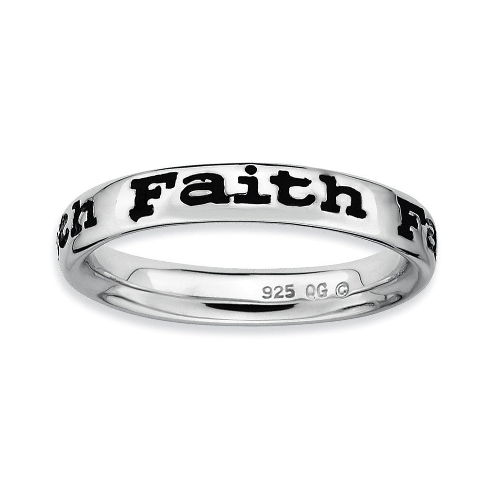 Sterling Silver Stackable Expressions Polished Enameled Faith Ring
