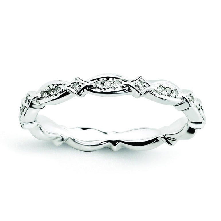 Sterling Silver Stackable Expressions Diamond Ring - shirin-diamonds