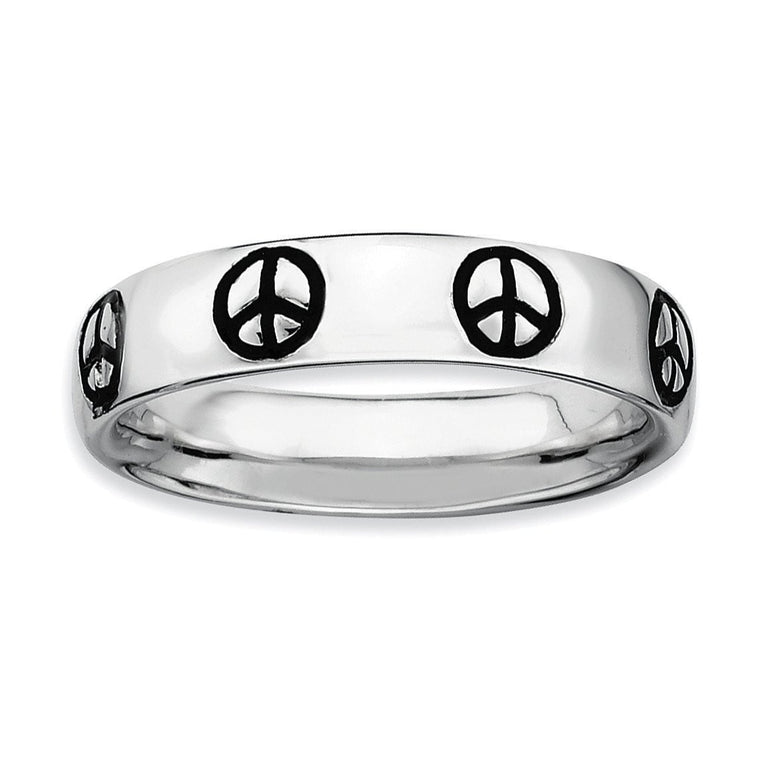 Sterling Silver Stackable Expressions Polished Enameled Peace Sign Ring - shirin-diamonds
