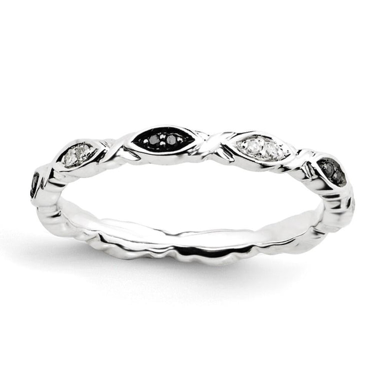Sterling Silver Stackable Expressions Black & White Diamond Ring - shirin-diamonds