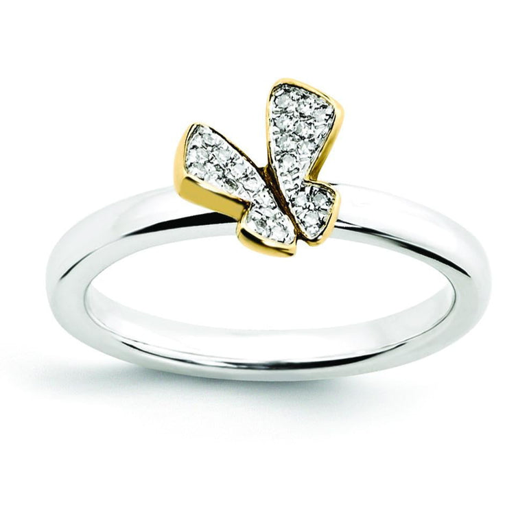 Sterling Silver Stackable Expressions Gold-plate Butterfly Diamond Ring - shirin-diamonds