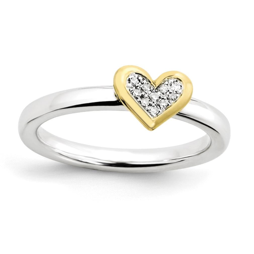 Sterling Silver Stackable Expressions Heart w/Diamond & Vermeil Ring - shirin-diamonds