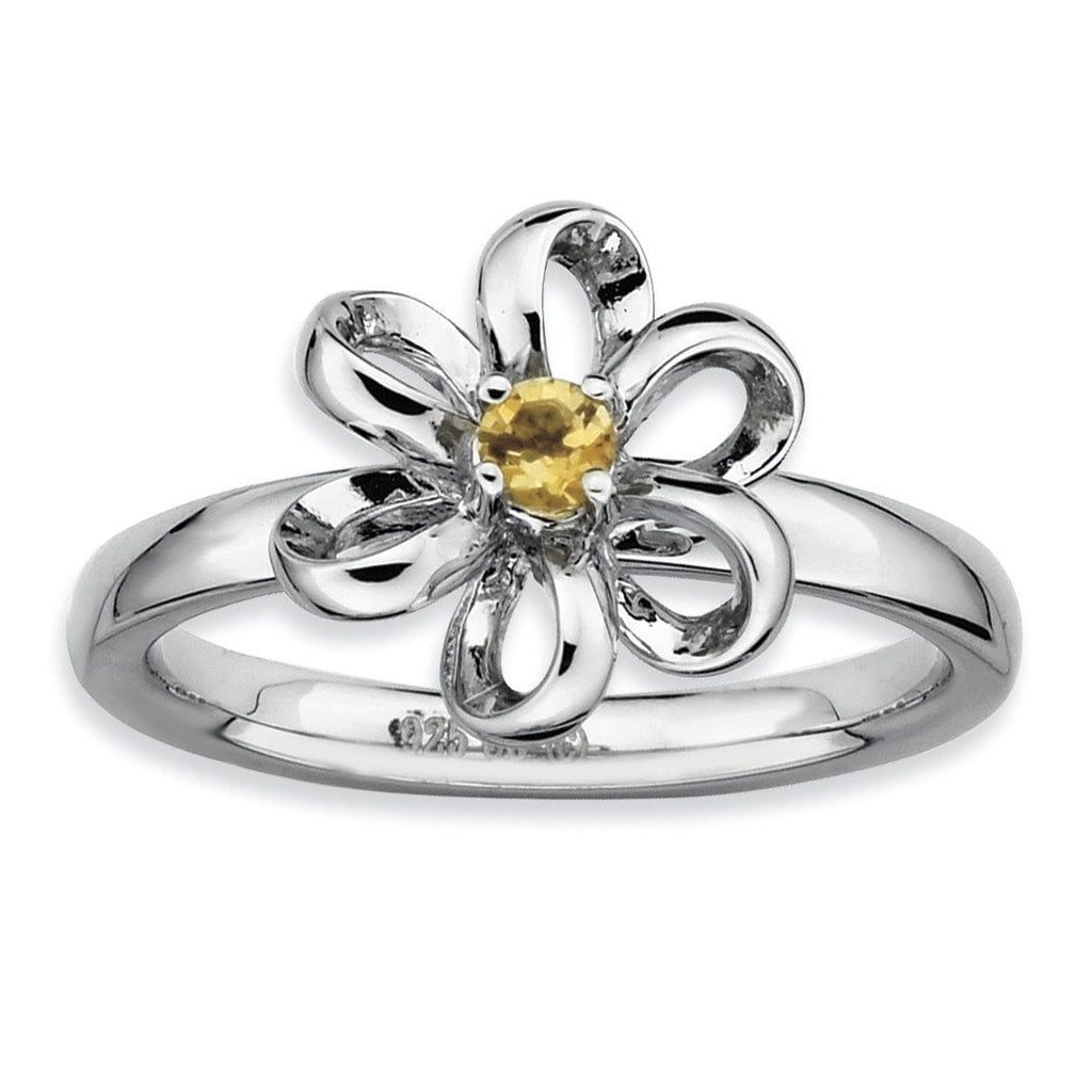 Sterling Silver Stackable Expressions Polished Citrine Flower Ring