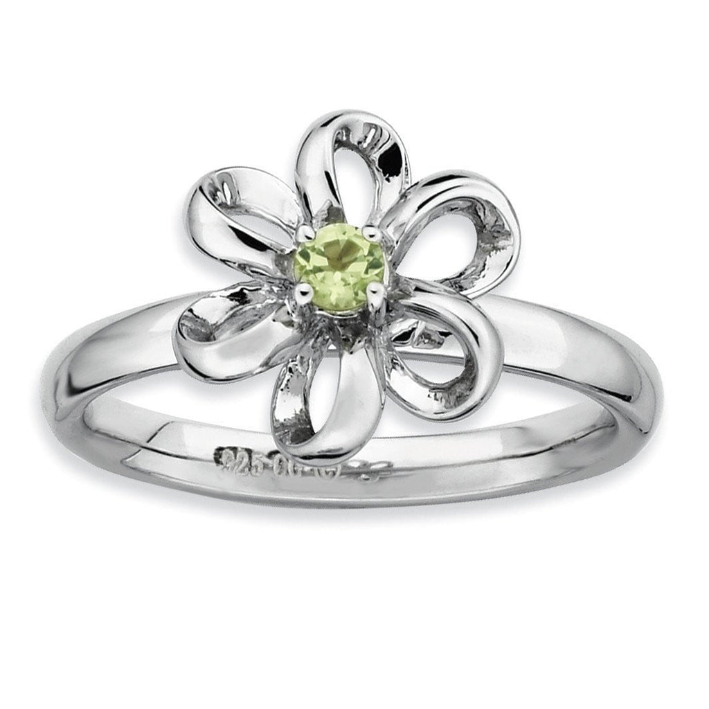 Sterling Silver Stackable Expressions Polished Peridot Flower Ring