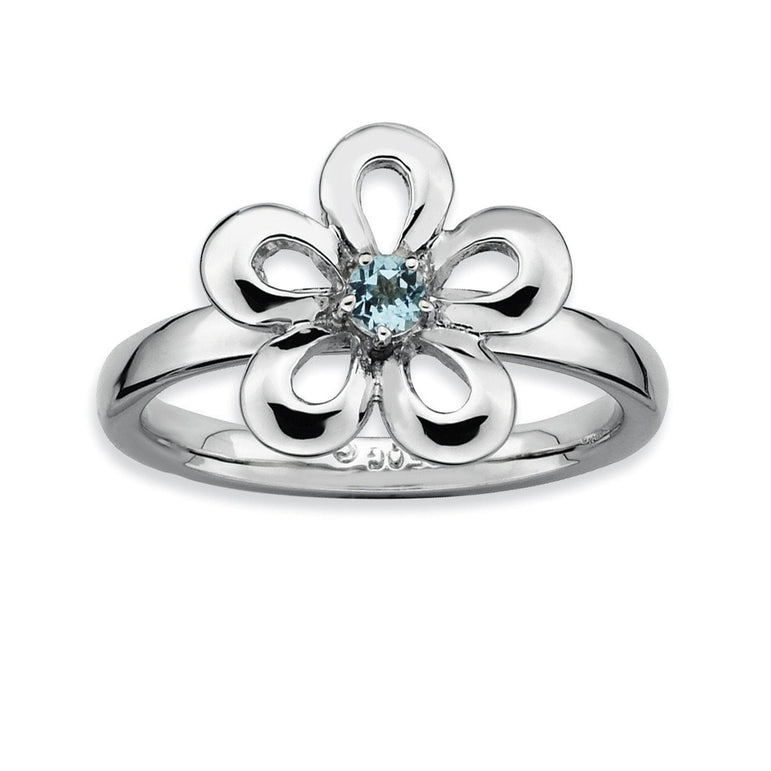 Sterling Silver Stackable Expressions Polished Blue Topaz Flower Ring - shirin-diamonds