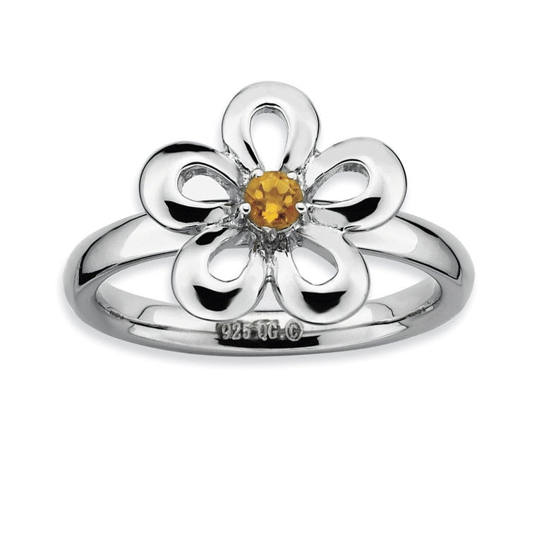 Sterling Silver Stackable Expressions Polished Citrine Flower Ring - shirin-diamonds
