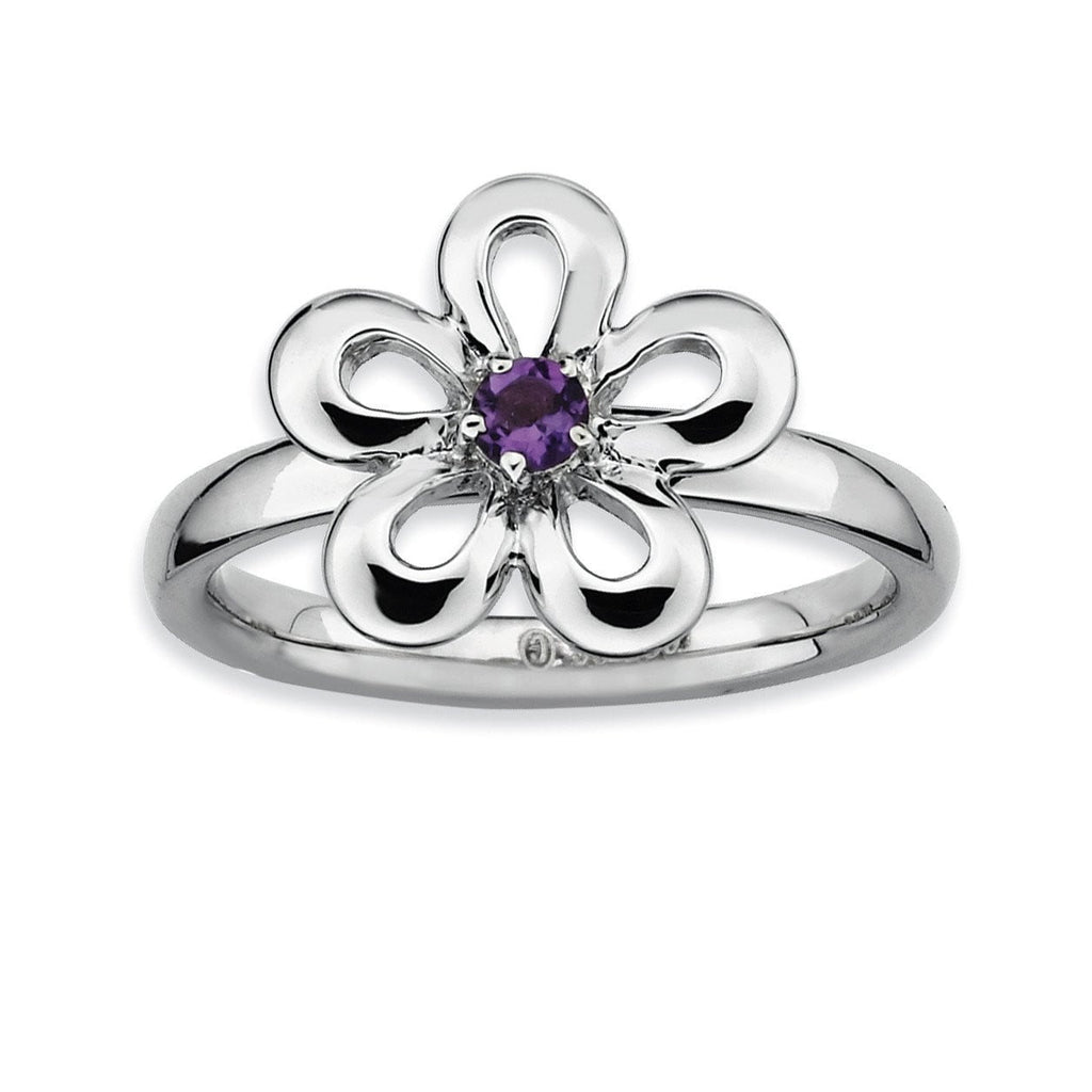 Sterling Silver Stackable Expressions Polished Amethyst Flower Ring