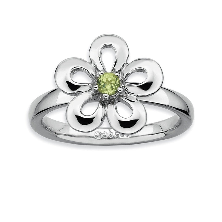 Sterling Silver Stackable Expressions Polished Peridot Flower Ring - shirin-diamonds