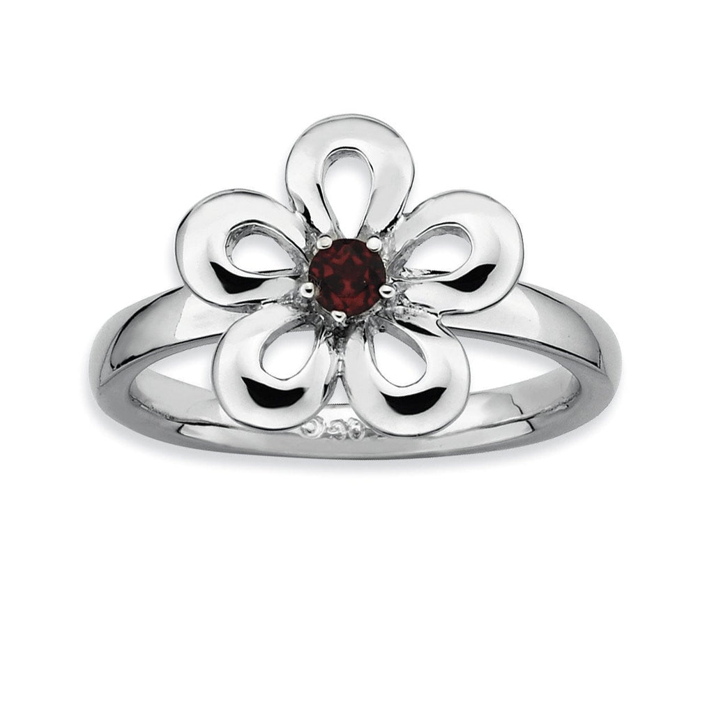 Sterling Silver Stackable Expressions Polished Garnet Flower Ring