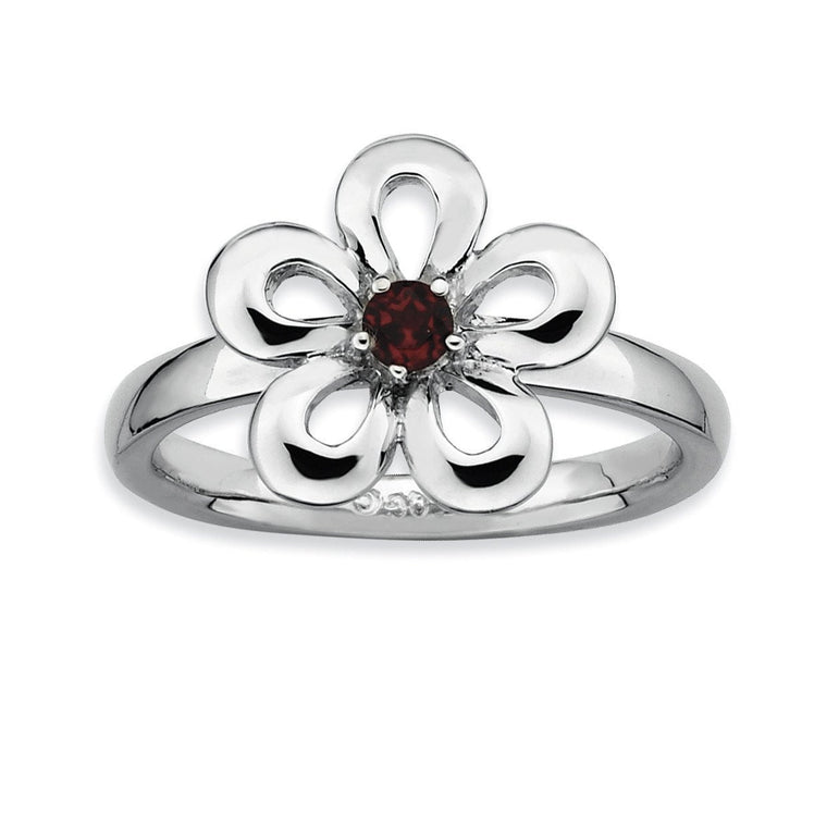 Sterling Silver Stackable Expressions Polished Garnet Flower Ring - shirin-diamonds