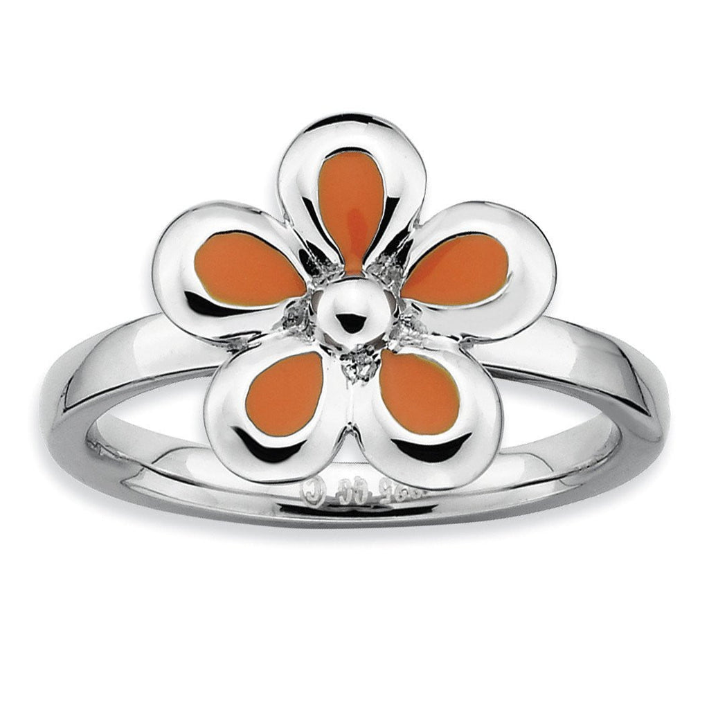 Sterling Silver Stackable Expressions Polished Orange Enameled Flower Ring