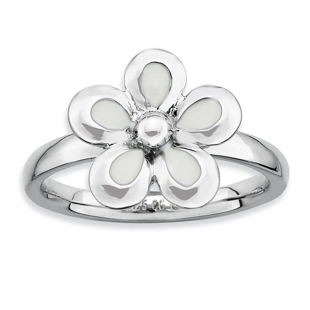 Sterling Silver Stackable Expressions Polished White Enameled Flower Ring
