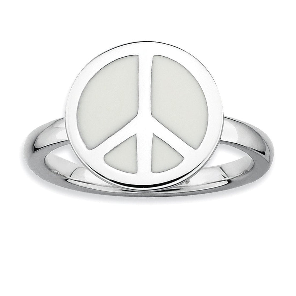 SS Stackable Expressions Polished White Enameled Peace Sign Ring - shirin-diamonds