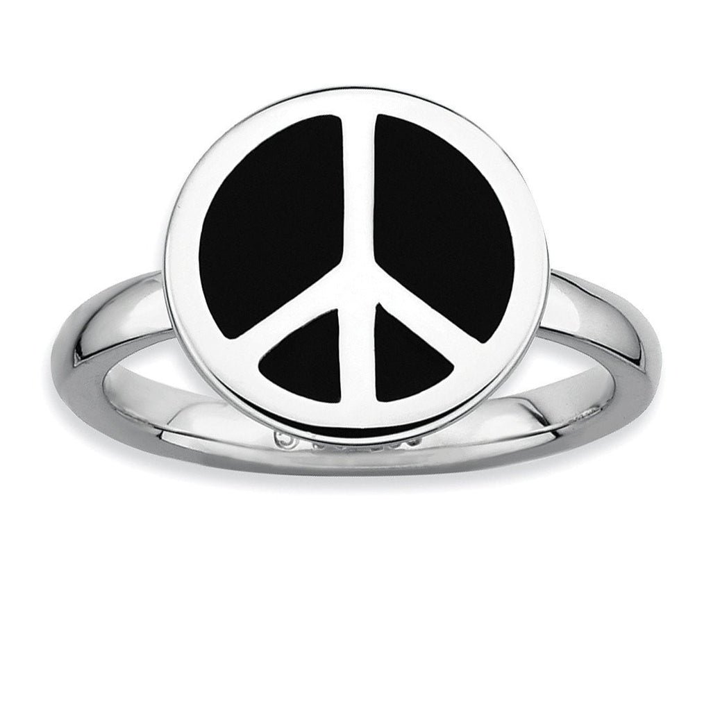 SS Stackable Expressions Polished Black Enameled Peace Sign Ring - shirin-diamonds