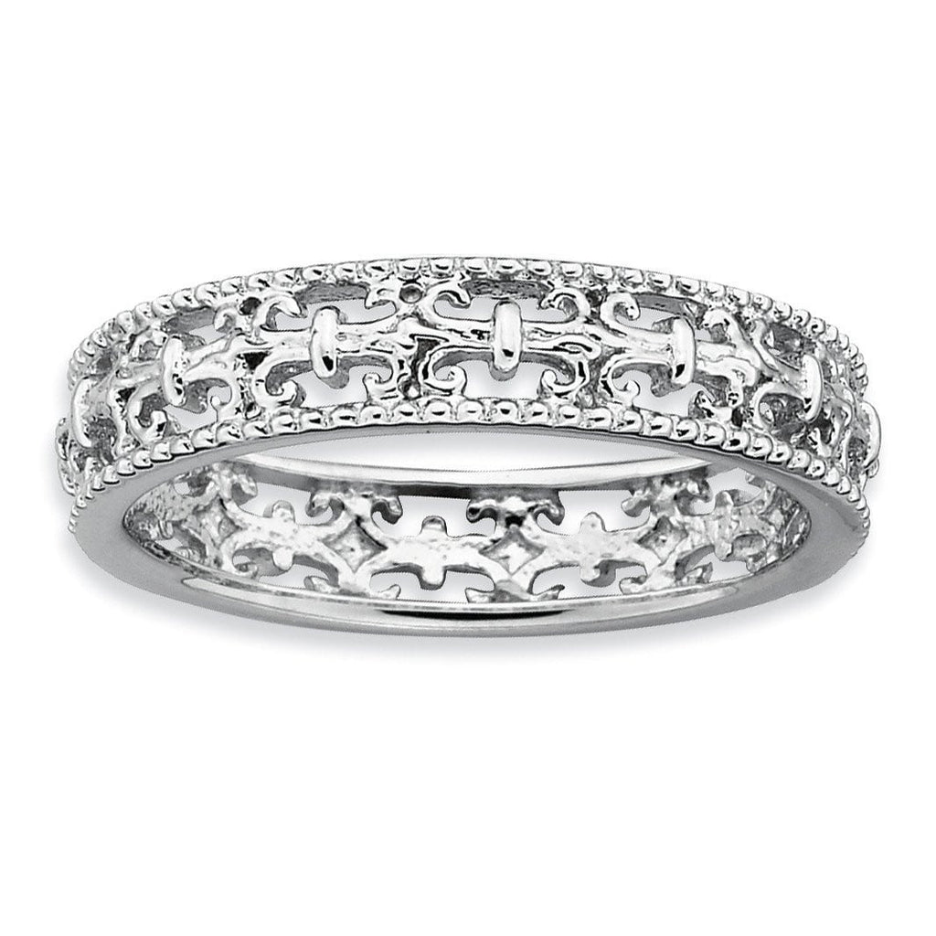 Sterling Silver Stackable Expressions Polished Fleur De Lis Ring - shirin-diamonds