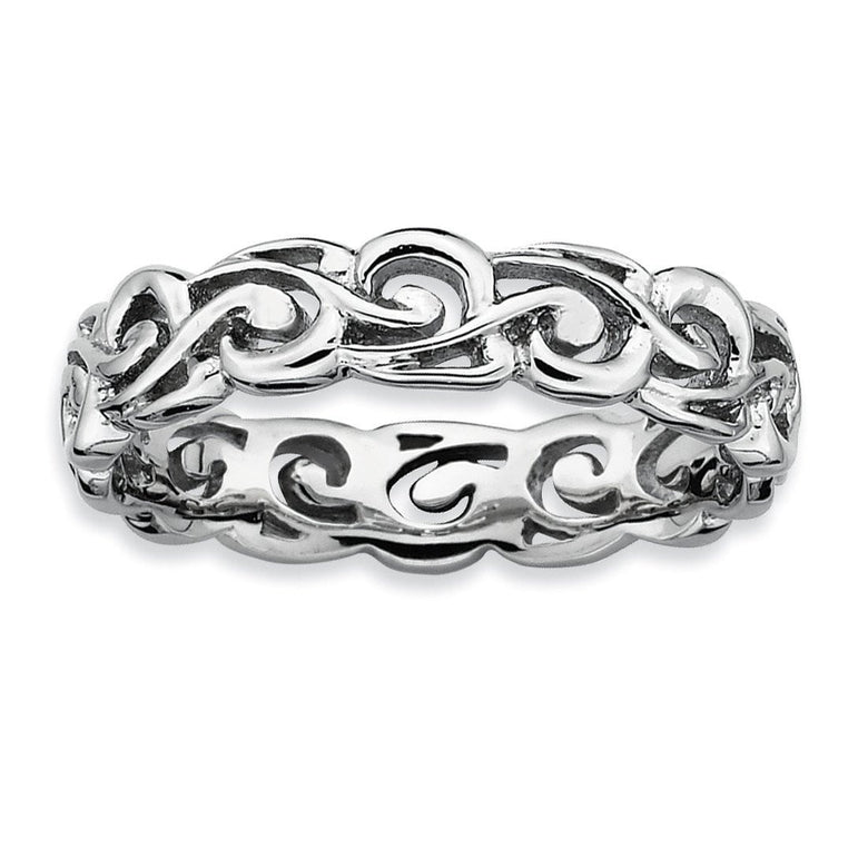 Sterling Silver Stackable Expressions Polished Ring - shirin-diamonds