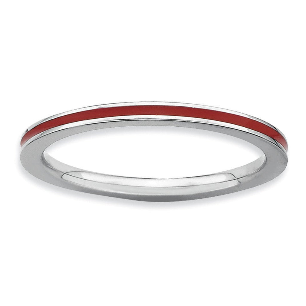 Sterling Silver Stackable Expressions Red Enameled 1.5mm Ring