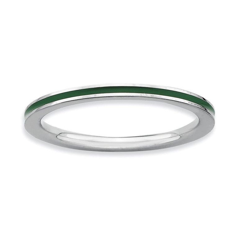 Sterling Silver Stackable Expressions Green Enameled 1.5mm Ring - shirin-diamonds