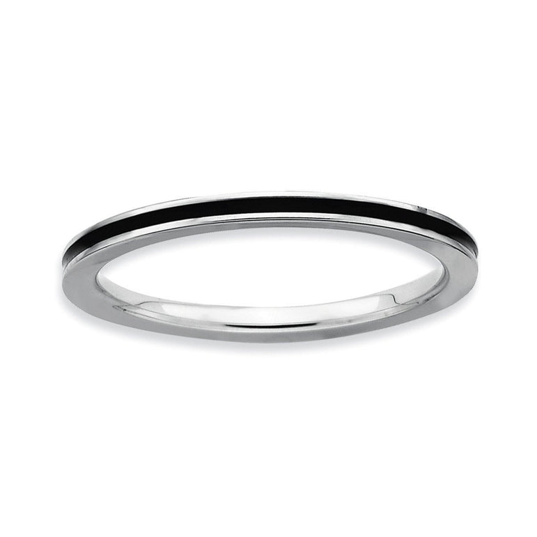 Sterling Silver Stackable Expressions Black Enameled 1.5mm Ring - shirin-diamonds