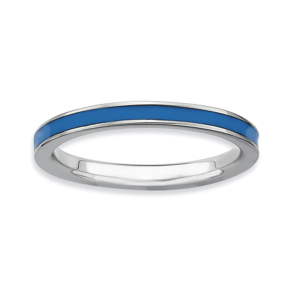 Sterling Silver Stackable Expressions Blue Enameled 2.25mm Ring - shirin-diamonds