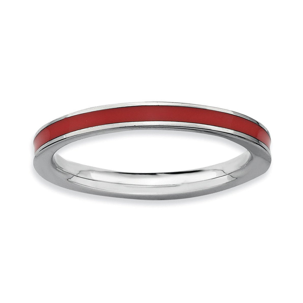 Sterling Silver Stackable Expressions Red Enameled 2.25mm Ring - shirin-diamonds