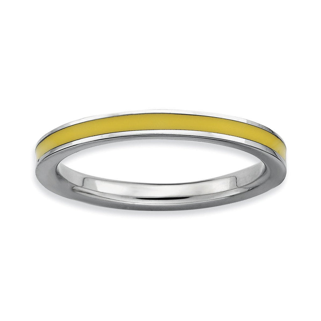 Sterling Silver Stackable Expressions Yellow Enameled 2.25mm Ring - shirin-diamonds