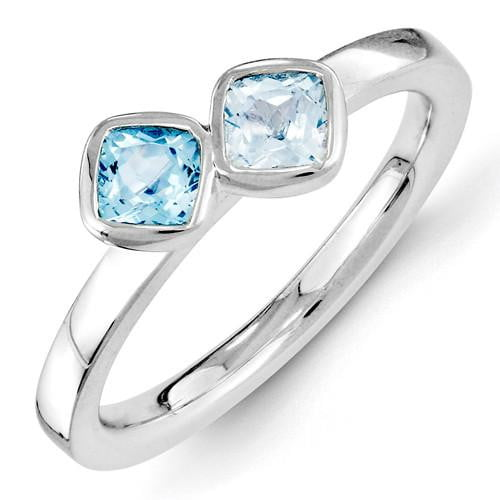Sterling Silver Stackable Expressions Blue Topaz Ring - shirin-diamonds