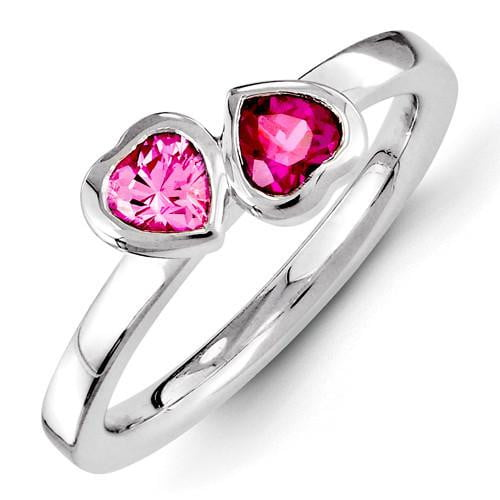 Sterling Silver Stackable Expressions Created Ruby & Pink Sapphire Ring - shirin-diamonds