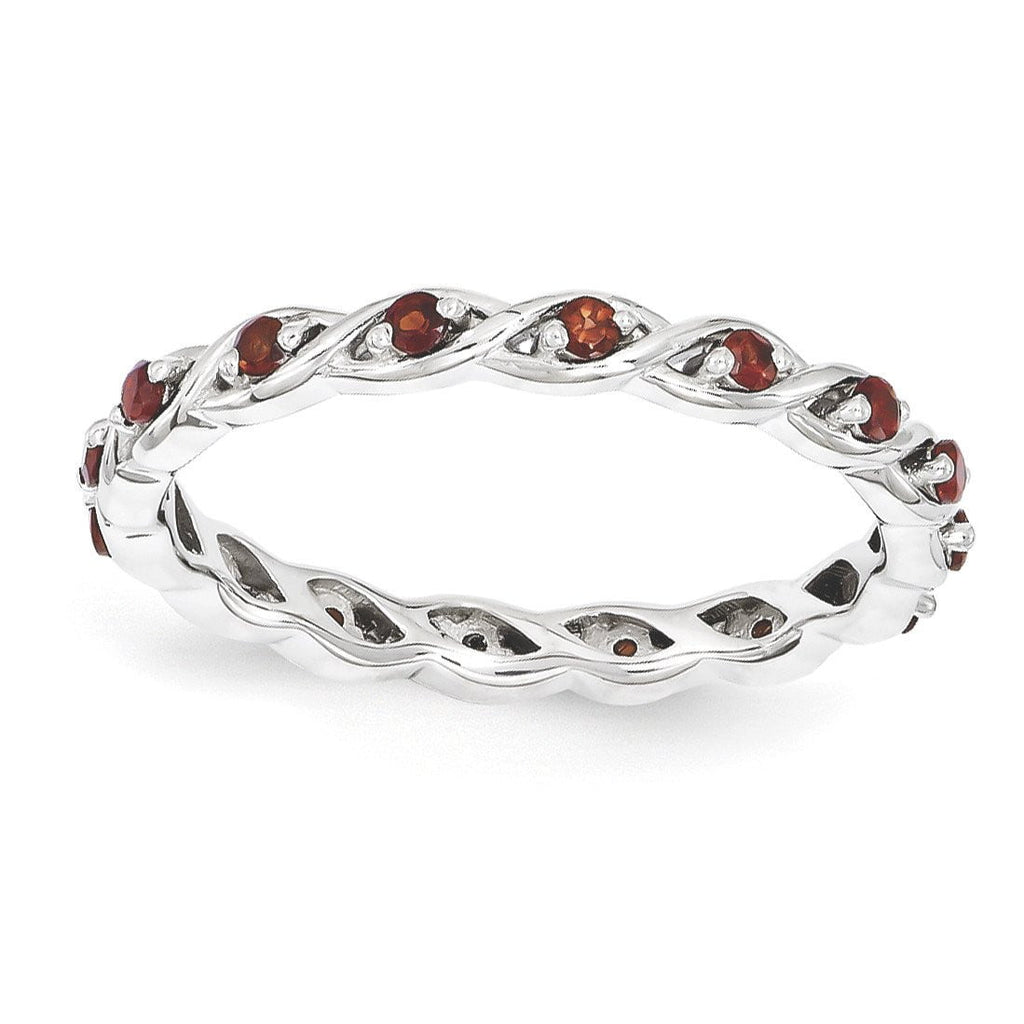 Sterling Silver Stackable Expressions Garnet Ring - shirin-diamonds