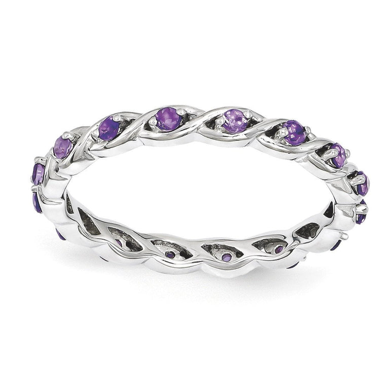 Sterling Silver Stackable Expressions Amethyst Ring - shirin-diamonds