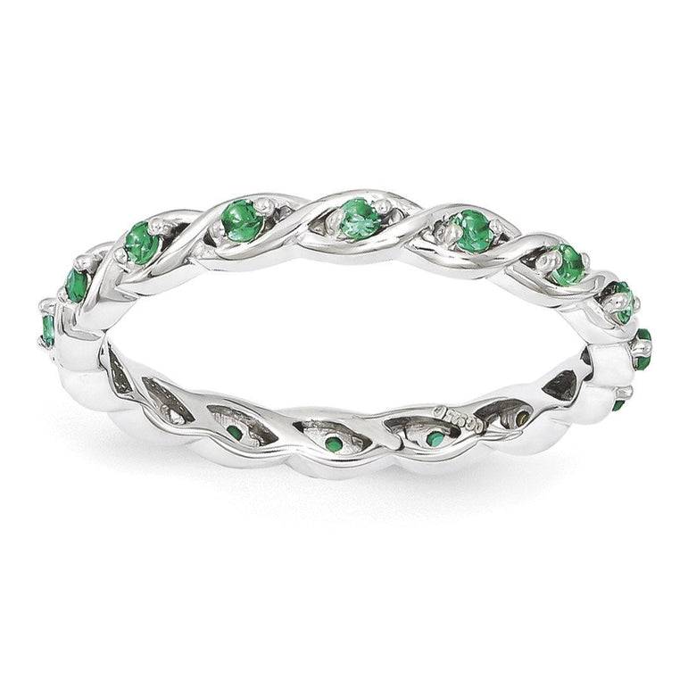 Sterling Silver Stackable Expressions Created Emerald Ring - shirin-diamonds
