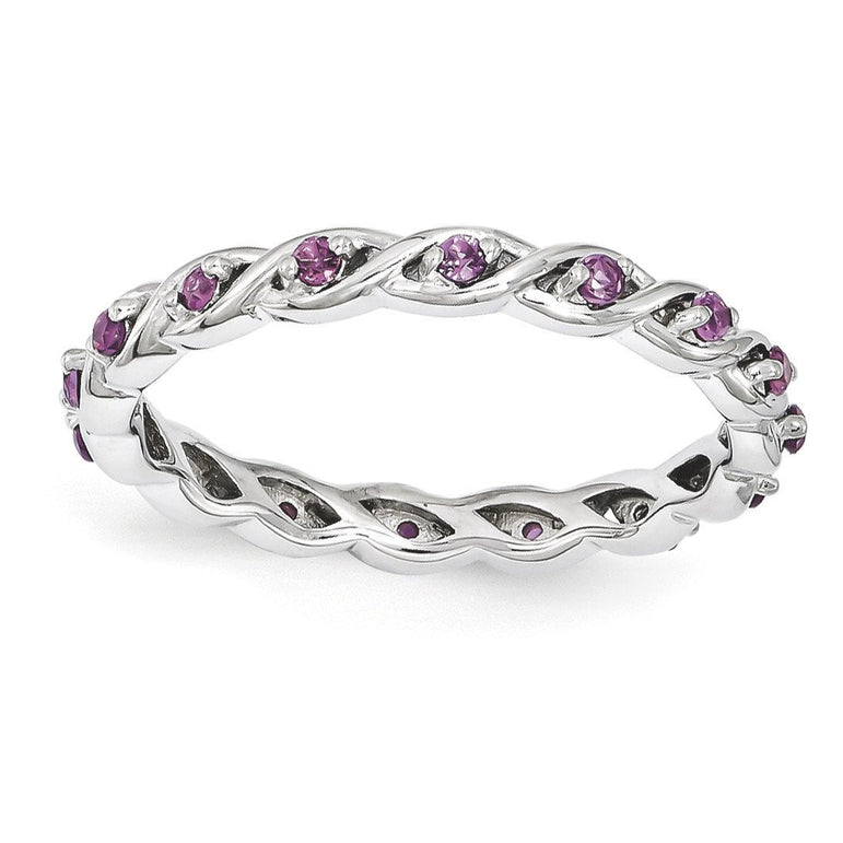 Sterling Silver Stackable Expressions Rhodolite Garnet Ring - shirin-diamonds