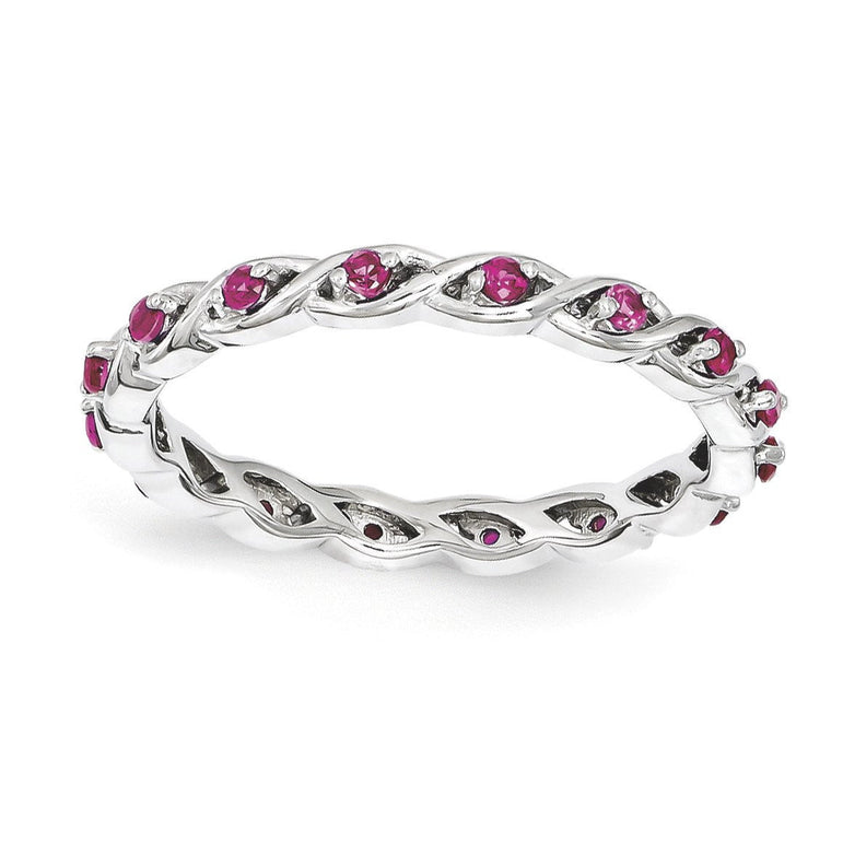 Sterling Silver Stackable Expressions Created Ruby Ring - shirin-diamonds