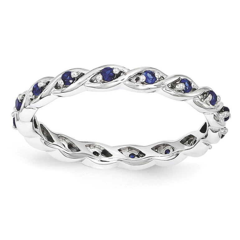 Sterling Silver Stackable Expressions Created Sapphire Ring - shirin-diamonds